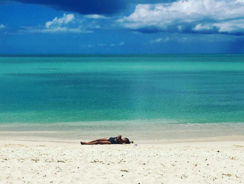 Relaxing on beautiful Jolly Harbour beach