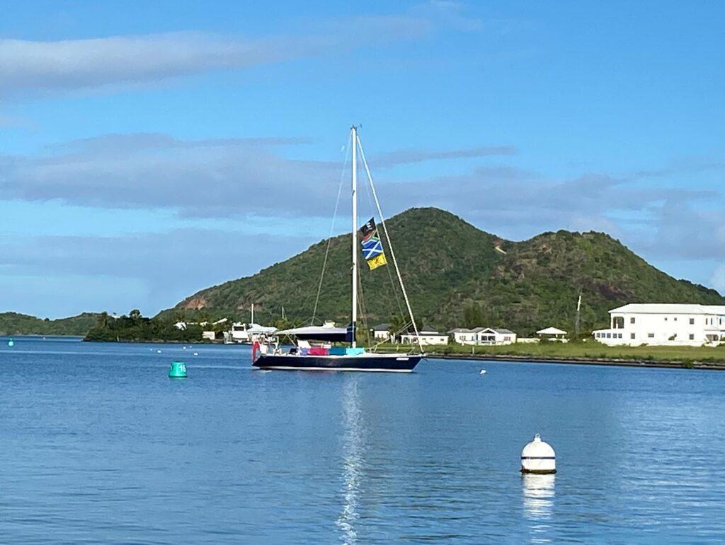 a boat on a mooring buoy