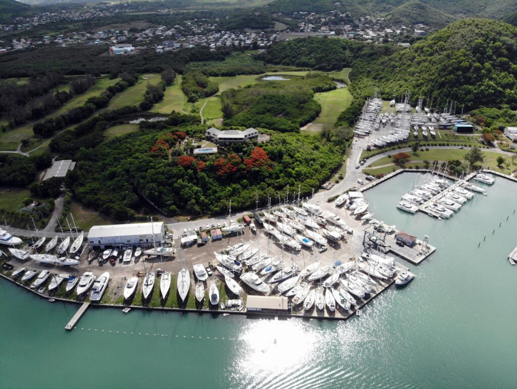 Aerial view of the boatyard storage