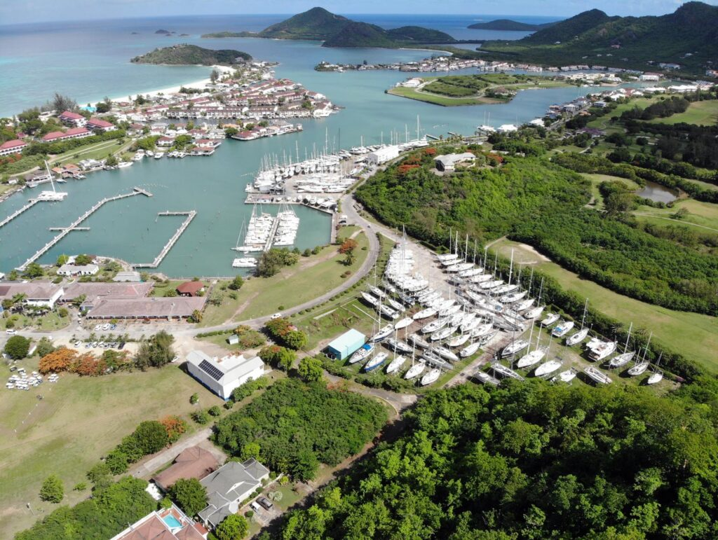 Aerial marina shot from land side