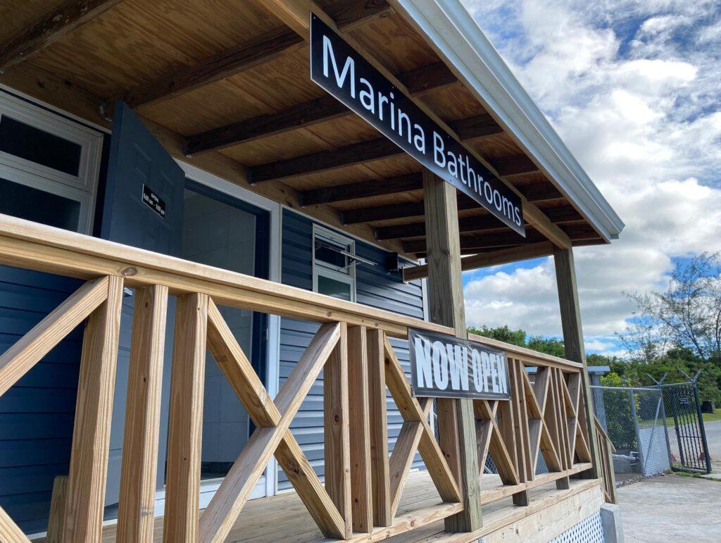 The exterior of the Marina bathroom facilities