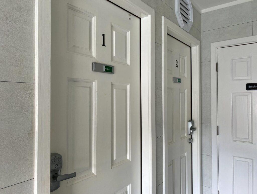 Individual restroom doors