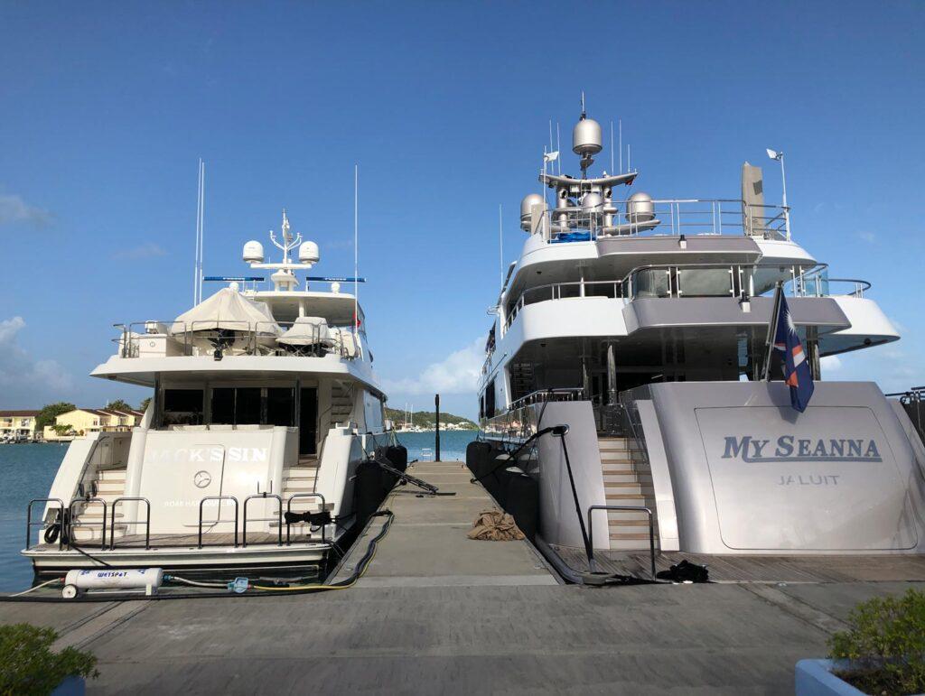 Mega yachts at Harbour Dock
