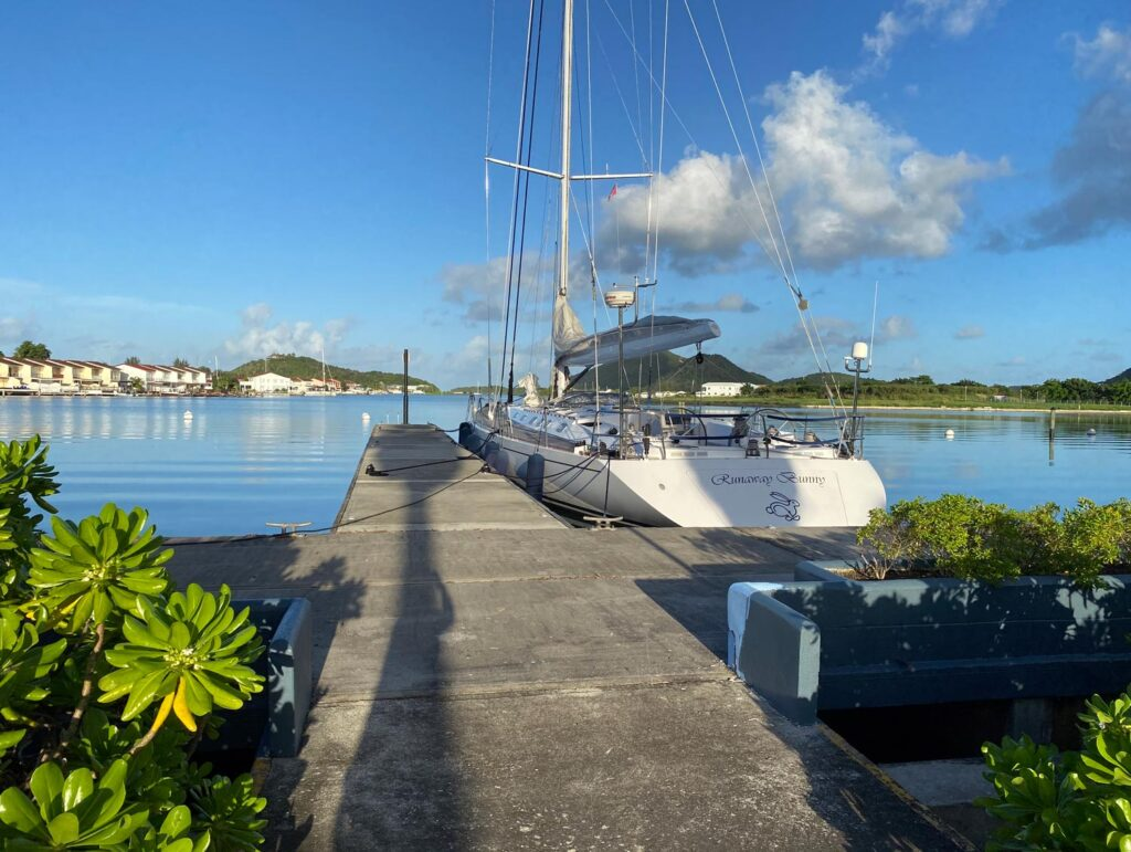 a beautiful sailing yacht by the dock