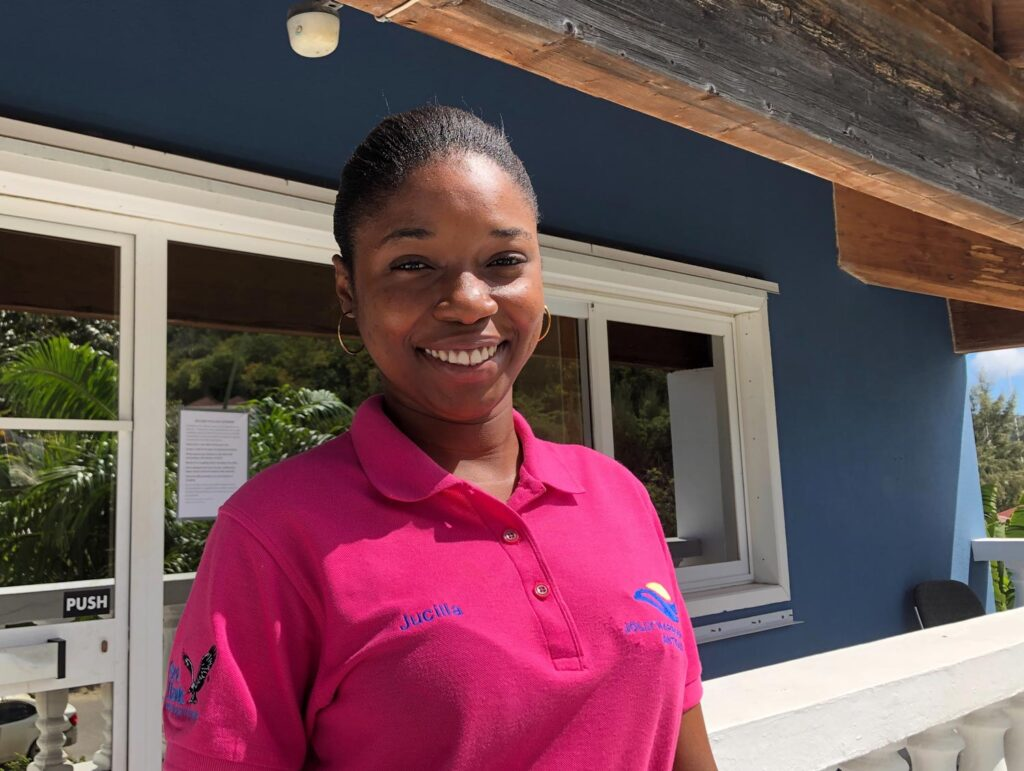 Smiling female employee